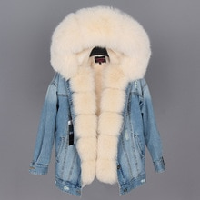 Maomaokong naturel lapin fourrure doublé denim veste renard fourrure manteau manteau mode denim renard fourrure chaude dame hiver veste femmes parka