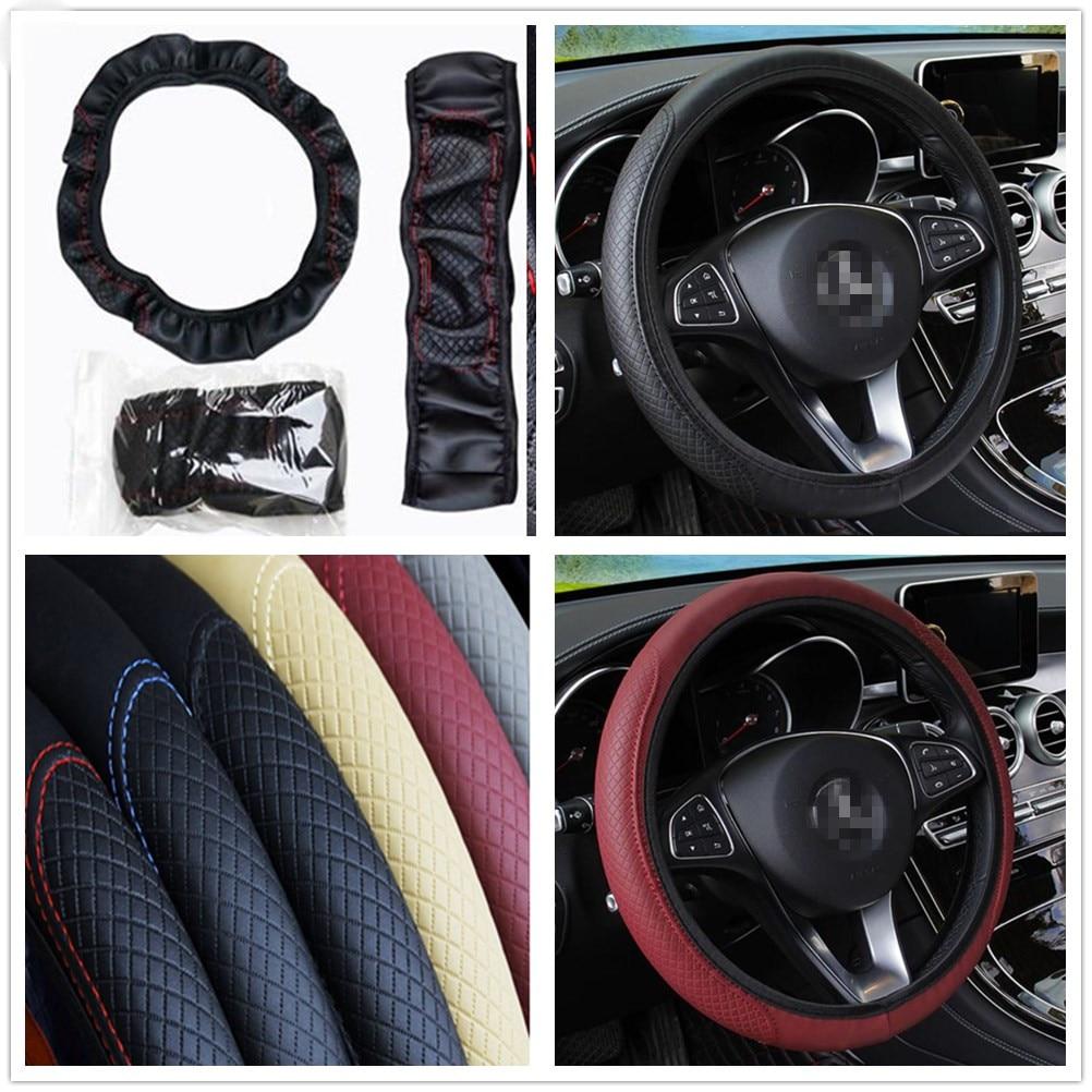 Funda Universal de cuero para volante de coche estilo círculo D antideslizante para Audi I Ah A8 A3 A4 A6 A5 Q7 R A3 de 3 puertas