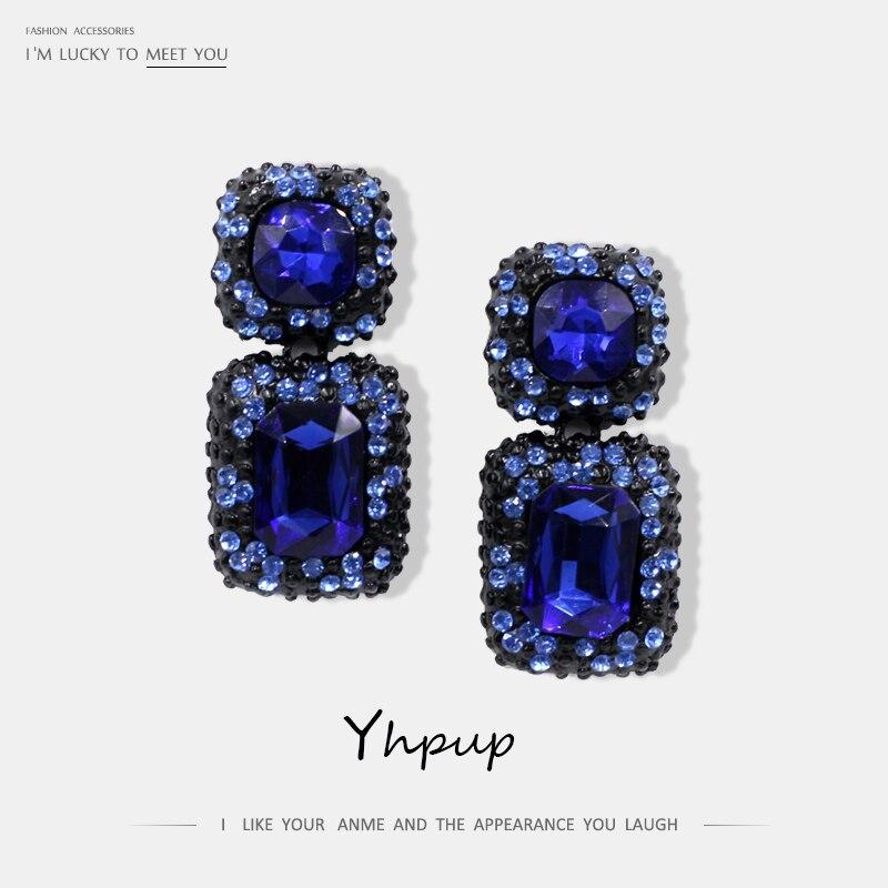 Yhpup luxo quadrado cristal do vintage strass elegante requintado brincos charme festa de casamento feminino chunky brincos bijoux