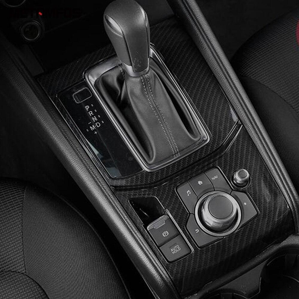 For Mazda CX-5 CX5 KF 2017 2018 2019 Carbon Fiber Gear Shift Box Cover Moulding Trim Decoration Frame Interior Car Accessories