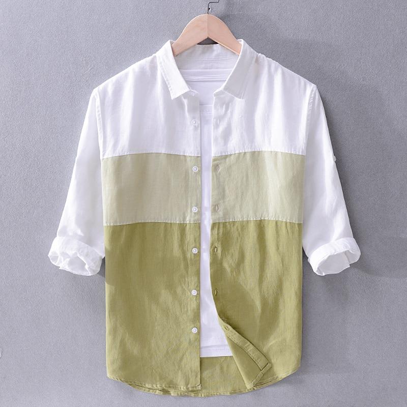 قميص كتان رجالي ، ماركة إيطالية جديدة ، لون متناسق ، عصري ، قميص غير رسمي ، بلايز ، قميص ، توصيل مباشر