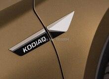 Para 2017 2018 2019 skoda kodiaq Original genuino ala lateral guardabarros emblema de la puerta pegatina ribete