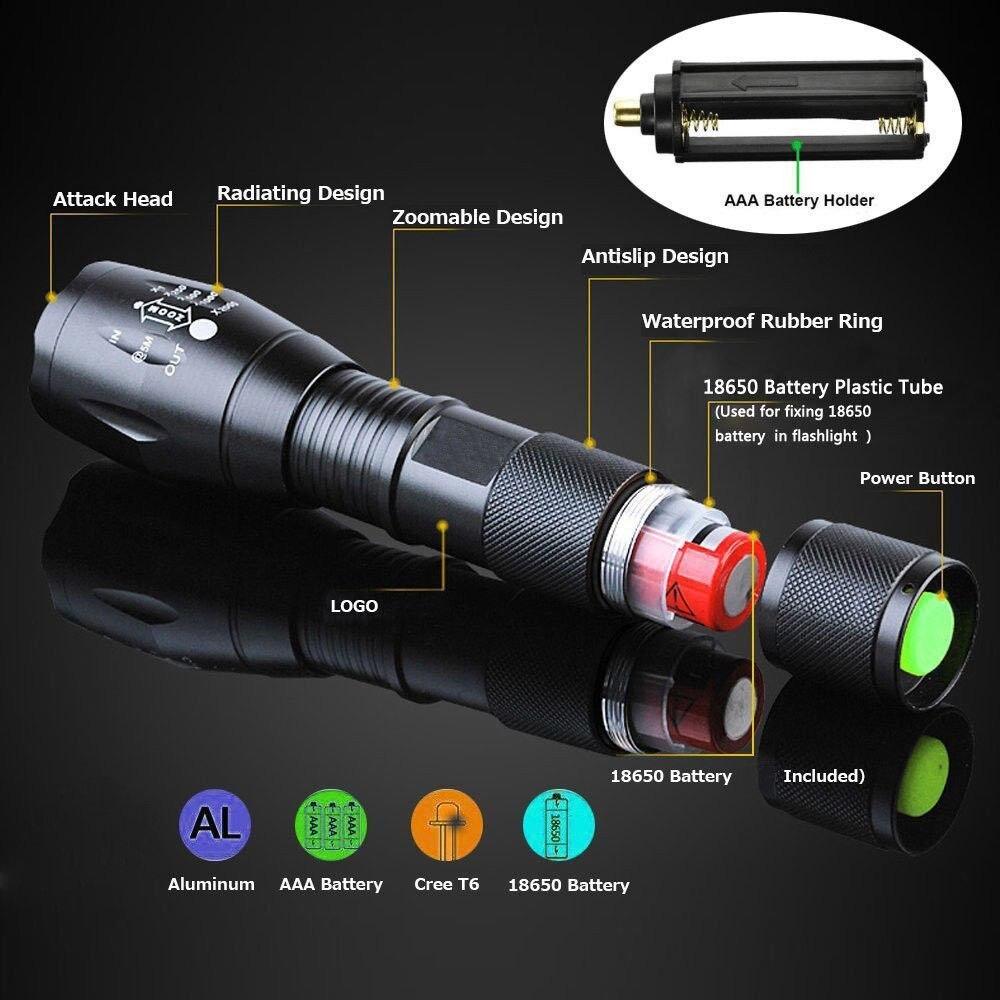 Linterna XM-L2 LED T6 de 8000 lúmenes, potente luz de Flash, linterna superbrillante para emergencias al aire libre, con zoom de 5 modos