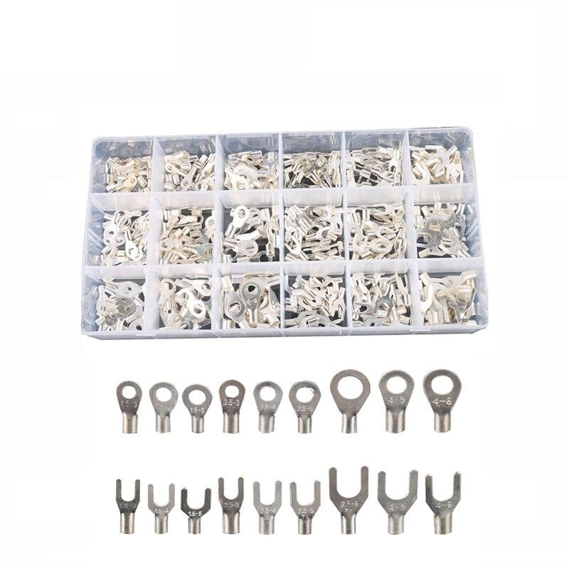 420 unids/caja 18 Tipo frío desnudo terminal Kit no aislado anillo horquilla u-tipo terminales surtido Cable conector Crimp pala