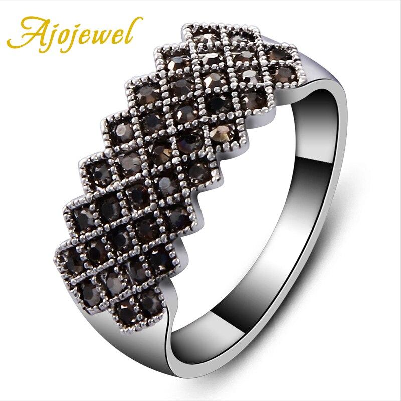 Tamaño 7/8/9 marca de Ajojewel nuevo pavimento negro CZ geométrico Vintage mujeres anillo negro fantasías femeninas Bijuterias