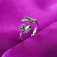 silver color plated jewellery rings for women vintage leaves flower girlfriends opening ring wholesale plum blossom ring