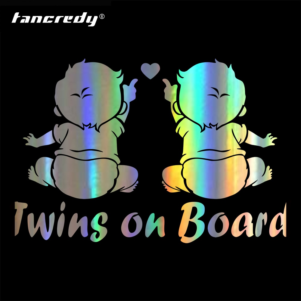 Tancredy 19.1*12.5 centímetros Gêmeos Baby On board Adesivo de Carro E Decalques Adesivo de Carro Styling Decoração Corpo Da Porta Janela adesivos de vinil