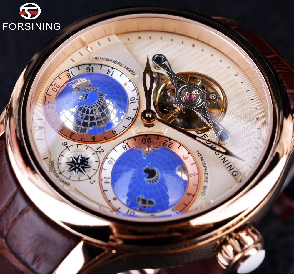 Forsining-ساعة ماركة فاخرة للرجال ، ساعة يد رجالية من الذهب الوردي الأصلي ، تصميم كلاسيكي متعدد الأبعاد ، أوتوماتيكية ، 2016