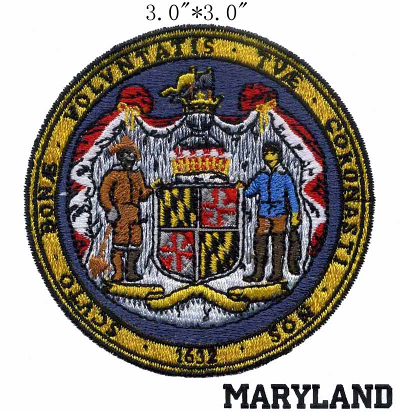 "Мэриленд State Seal 3 ""широкий вышитый патч для battlestar galactica/bayern munich/black texts"