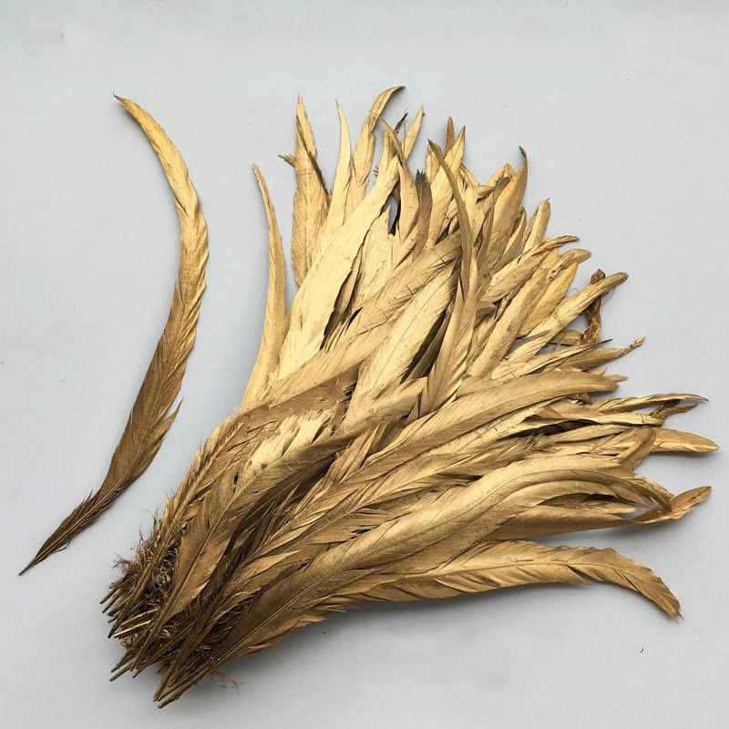 Venta al por mayor 10-1000 unids/lote 30-35 cm/12-14 pulgadas pluma de gallo amarillo dorado pluma de cola de gallo pluma de pollo pluma de cola de gallo