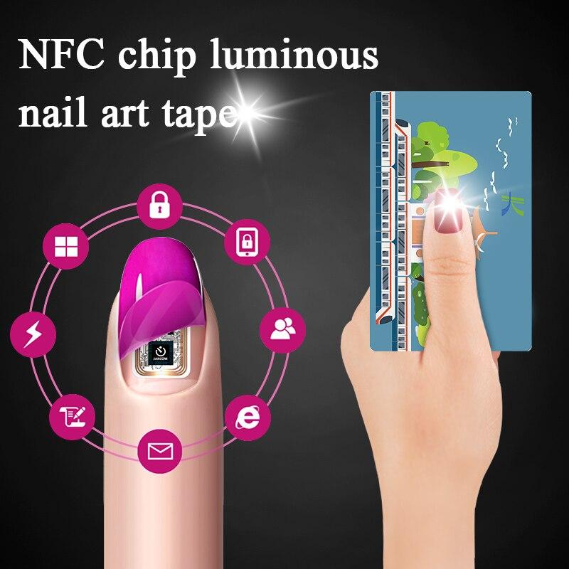 2Sets/4 Uds brillante NFC arte de uñas punta etiqueta Chip brillante pegatinas para uñas Flash de luz LED fiesta decoración de uñas arte de uñas calcomanías herramienta