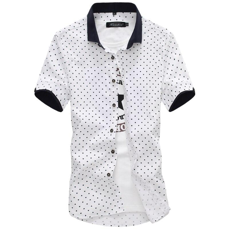 ¡Novedad de 2019! camisa de negocios de verano para hombre, camisa de esmoquin de manga corta con cuello vuelto, camisas de hombre de talla grande 5XL
