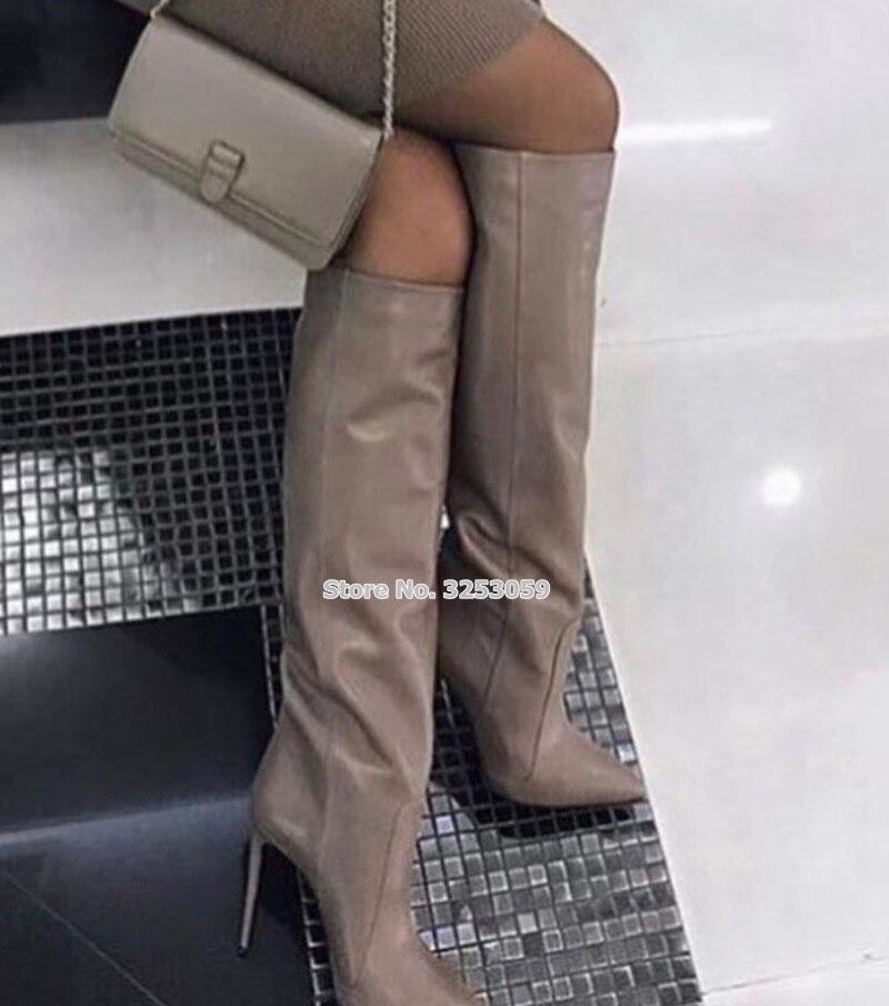 ALMUDENA, botas de tacón de aguja de cuero café para mujer, botas hasta la rodilla con punta en punta, zapatos de moda, zapatos de calle, botas altas, bota larga gladiador