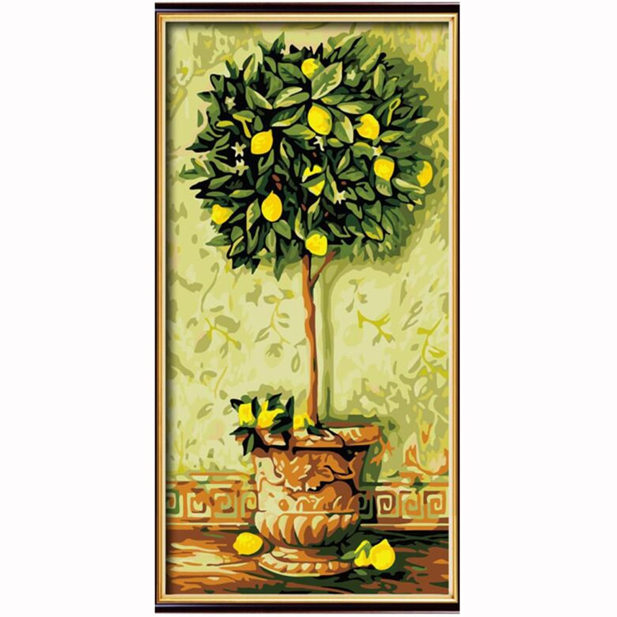 Cuadros buena suerte árbol bonsái lienzo cuadro pintado a mano pintura por números Pintura modular pinturas al óleo modernas