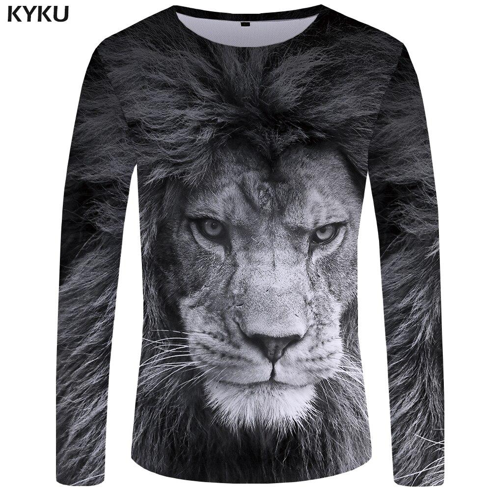 Camiseta KYKU Lion para hombre, camisa de manga larga, camiseta gris con animales geniales 3d, ropa de calle punk, ropa para hombre, nueva S-XXXXXL
