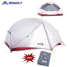 BSWolf 3 Saison Ultraleicht Camping Zelt 2 Personen 20D Nylon Stoff Doppel Schicht Wasserdicht Wandern Rucksack Zelt mit Kostenloser Matte