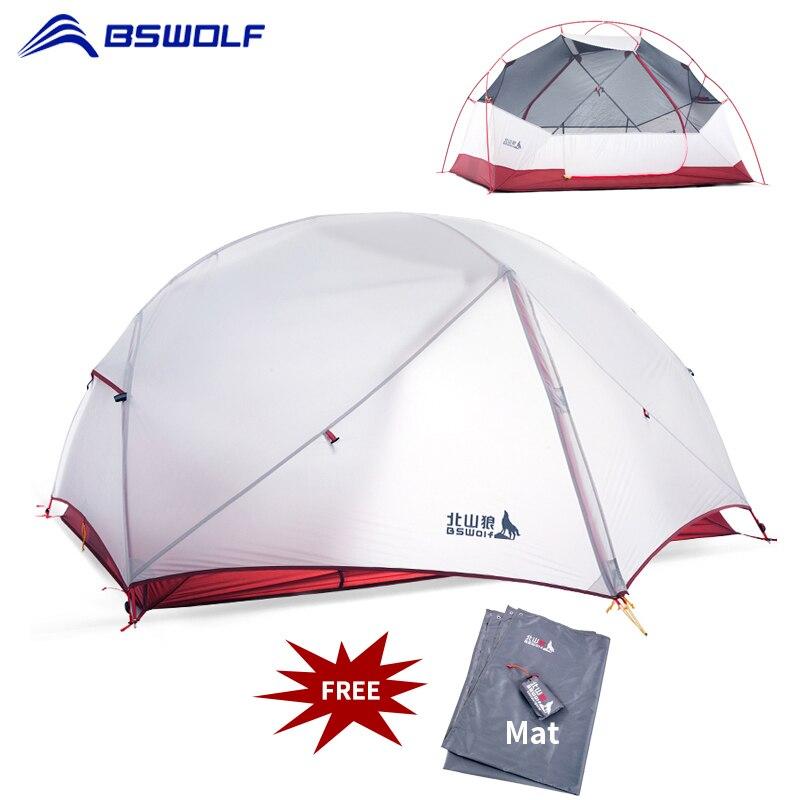 Bswolf 3 temporada ultraleve barraca de acampamento 2 pessoas 20d tecido de náilon dupla camada impermeável caminhadas mochila tenda com esteira livre