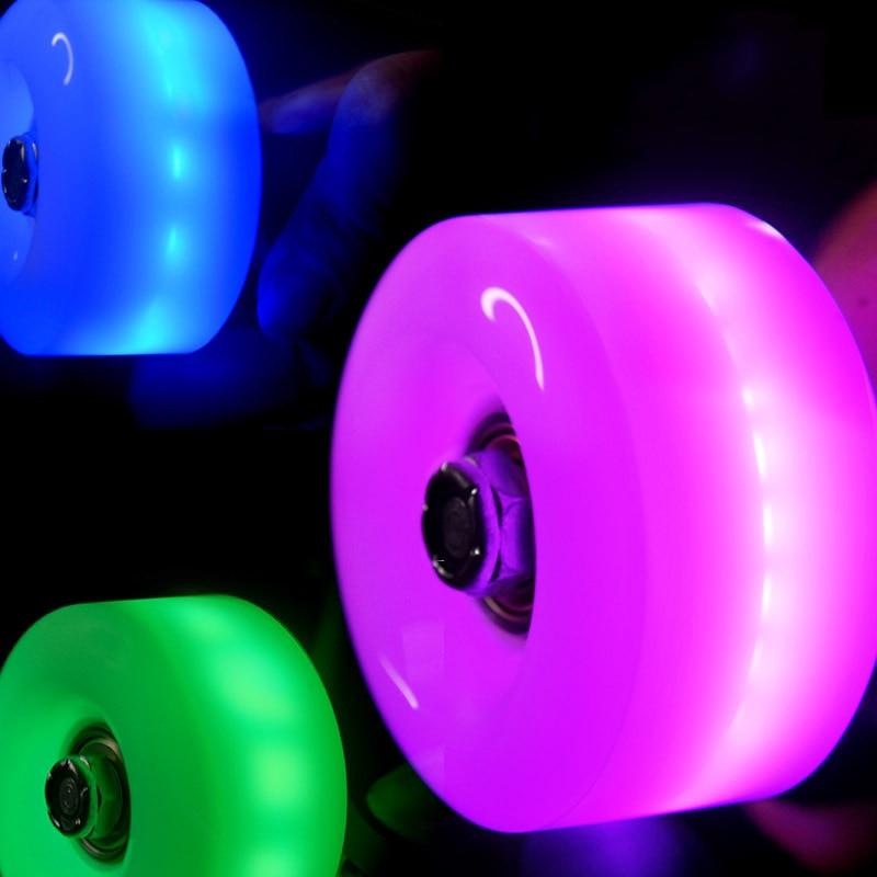 JK Led, ruedas de patines dobles de PU destellantes, ruedas de patines Quad de alta elasticidad 82A 32*58mm con rodamientos de núcleo magnético