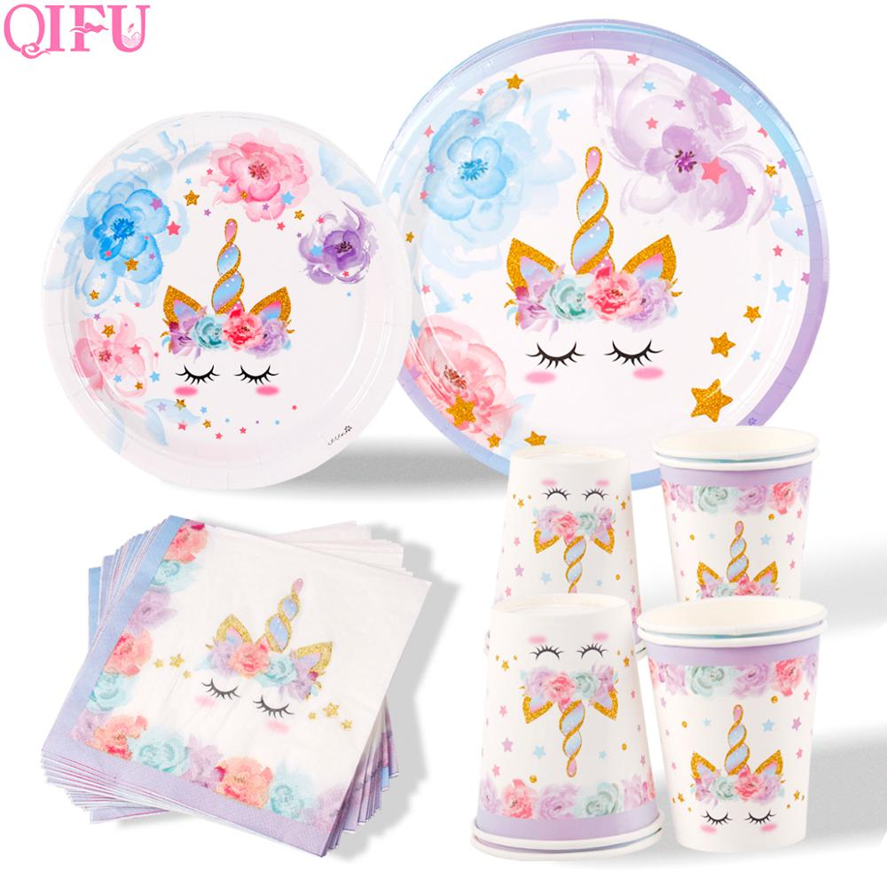 AliExpress - QIFU New Unicorn Tableware Kids Birthday Party Events Disposable Unicorn Plates Napkins Cups Unicorn Birthday Party Supplies