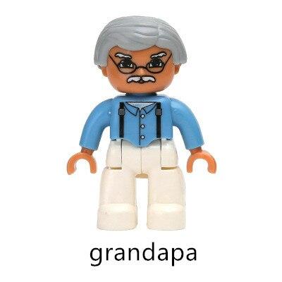 Купить с кэшбэком Big Building Blocks Family Members Set Mom Dad Grandpa Grandma Brother Sister Princess Baby Girl Role Play Toys Compatible Parts