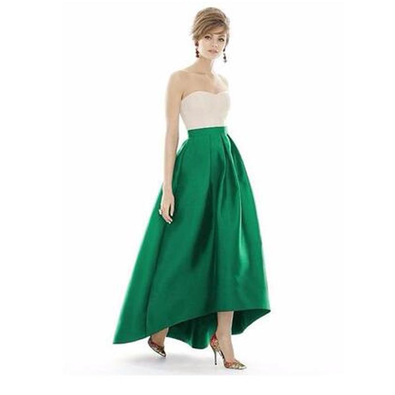 New Trendy Maxi Long Skirt Floor Length Ladies Asymmetrical Skirts Emerald Green Saias Longa 2017 Femininas Formal Jupe