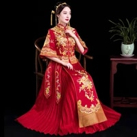 red trailing qipao women bride traditional wedding gown 2019 new chinese flower embroidery dress cheongsam style chinois femme