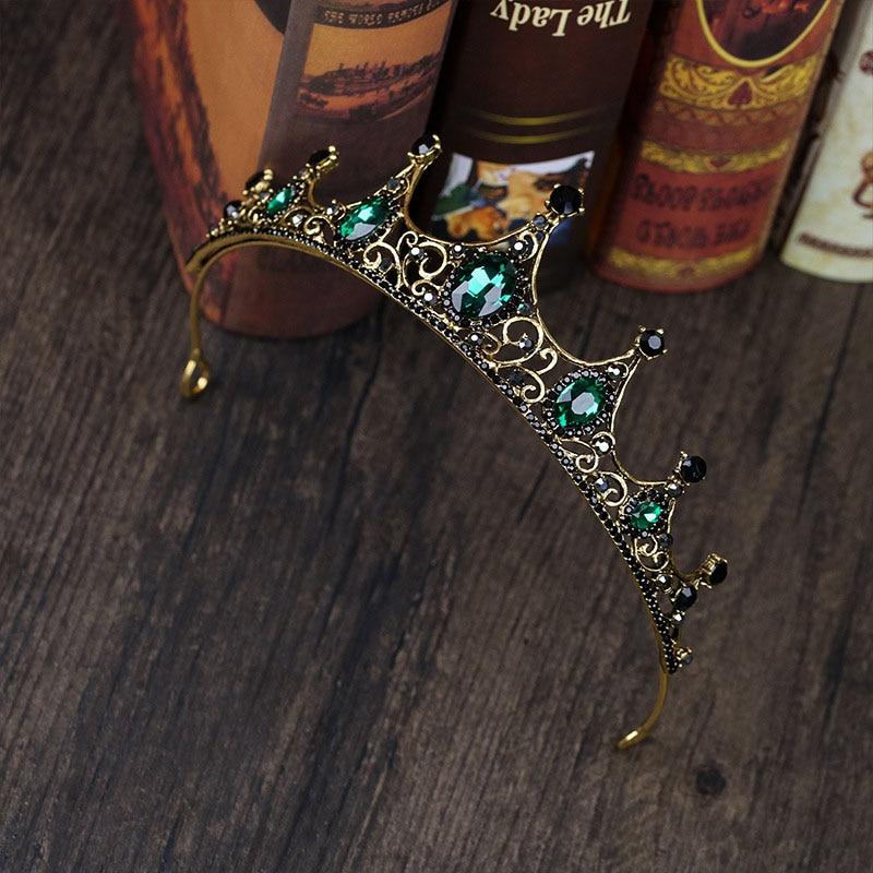 tocados para novia Tocado de Tiaras de cristal verde barroco Vintage accesorios para el cabello de novia para niñas niños flores tiara para chica