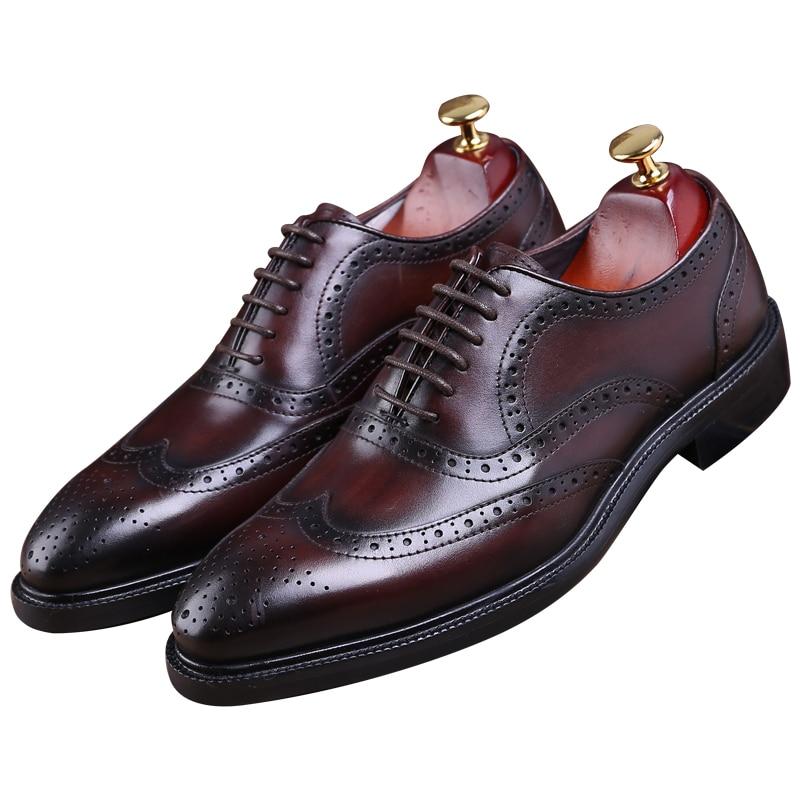 الأزياء البني تان/أسود جوديير فيلت أحذية أوكسفورد رجل أحذية جلدية حقيقية الأعمال اللباس أحذية رجالي أحذية الزفاف