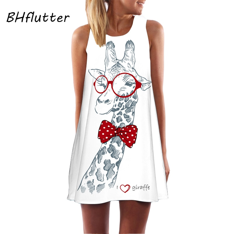 BHflutter 2018 Vestido de verano dibujo de jirafa Prairie Chic lindo Vestido de gasa mujeres sin mangas Casual suelta Mini Vestido de fiesta