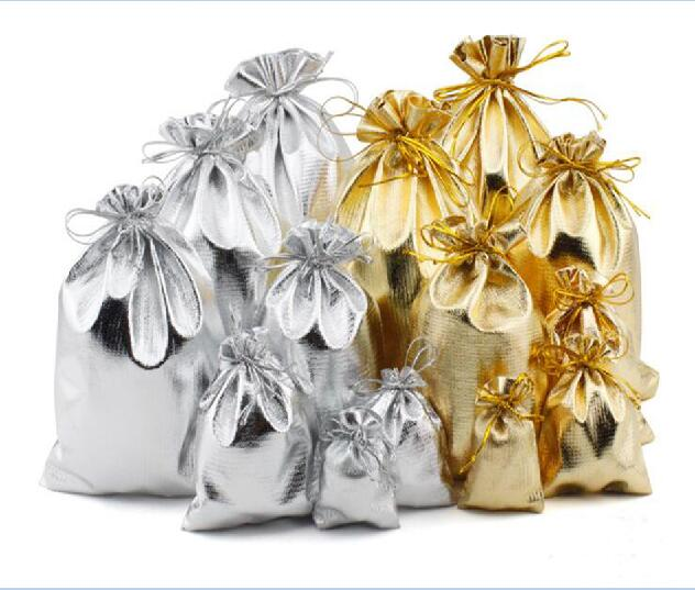 Bolsas de Organza con cordón de color dorado/plateado, bolsa organizadora de joyas, bolsas para exhibición de Joyas 10 Uds. 5x7 7x9 9x12 10x15cm