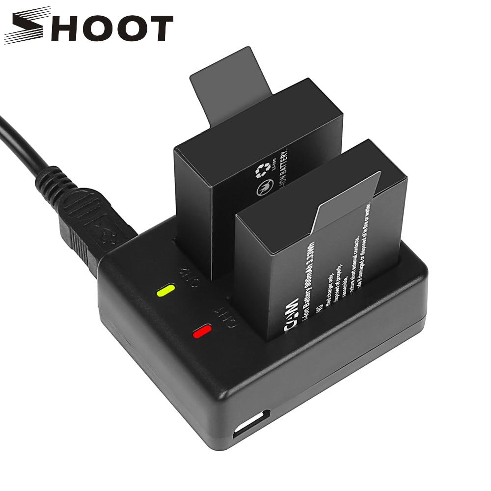 SHOOT cargador de batería de doble puerto con 2 uds 900mAh batería para Sjcam Sj9000 Sj4000 Sj5000 M10 M20 Sj 4000 accesorio de cámara de acción pilas recargables