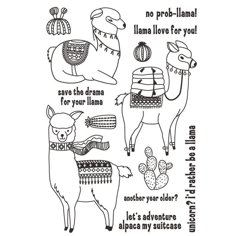 Милый Llamas прозрачный силиконовый штамп/печать для DIY скрапбукинга/фотоальбома декоративные прозрачные штамп листы HEM10