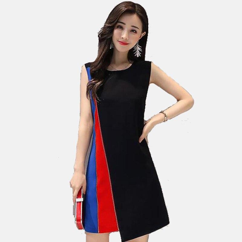 Summer Mini Dress Women Patchwork Dress Above Knee Elegant DressesCasual Loose Beach Wear Sleeveless Vest Dress Vestido