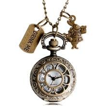 Alice au pays des merveilles montre de poche lapin fleur creux boisson moi et lapin Quartz montres pendentif chaîne horloge mâle zakhorloge