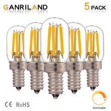 GANRILAND 2 watts à intensité variable Filament lumière LED E12 E14 ampoules T20 2200K Mini lampe tubulaire réfrigérateur indicateur ampoule 15W équivalent