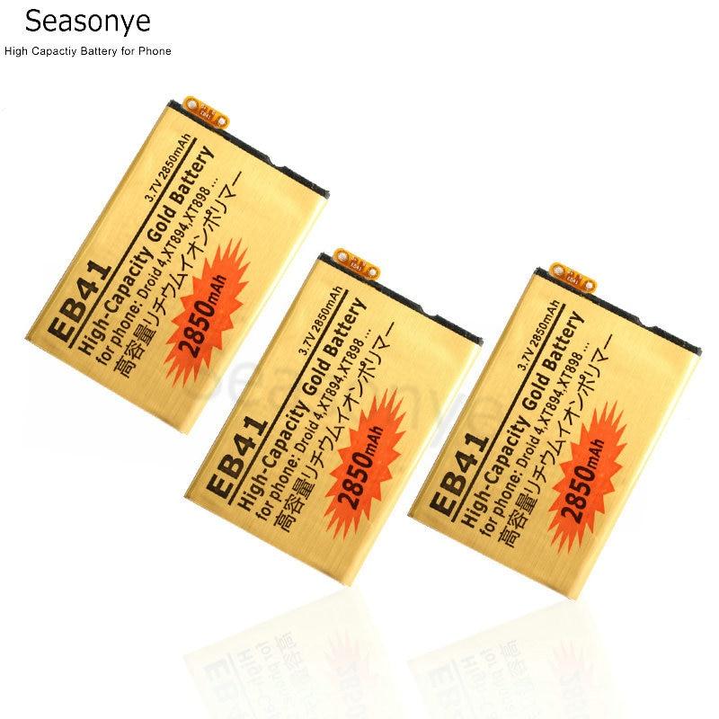 Seasonye 3 pçs/lote 2850 mAh Ouro Bateria de Substituição Para Motorola Droid 4 EB41 XT894 XT898 P893 P89 FÓTON Q LTE XT897 SNN5905 ect