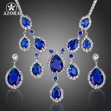 AZORA Edle Blau Zirkonia Wasser Tropfen Anhänger Halskette und Ohrringe Schmuck Sets TG0160
