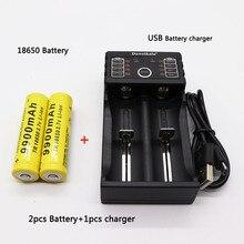 2 uds 18650 batería 3,7 V 9900mAh batería liion recargable con cargador para linterna Led batería de litio + 1 Uds cargador