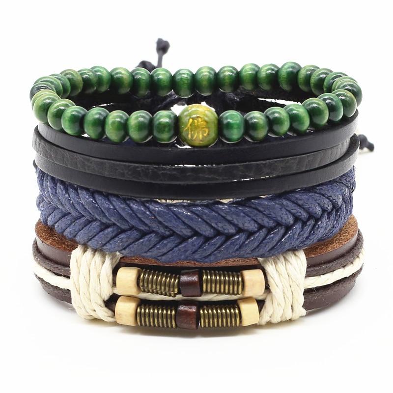 4 pçs/set moda artesanal na moda do vintage feminino femme homme masculino punk grânulo de madeira charme pulseira de couro masculino para mulher jóias