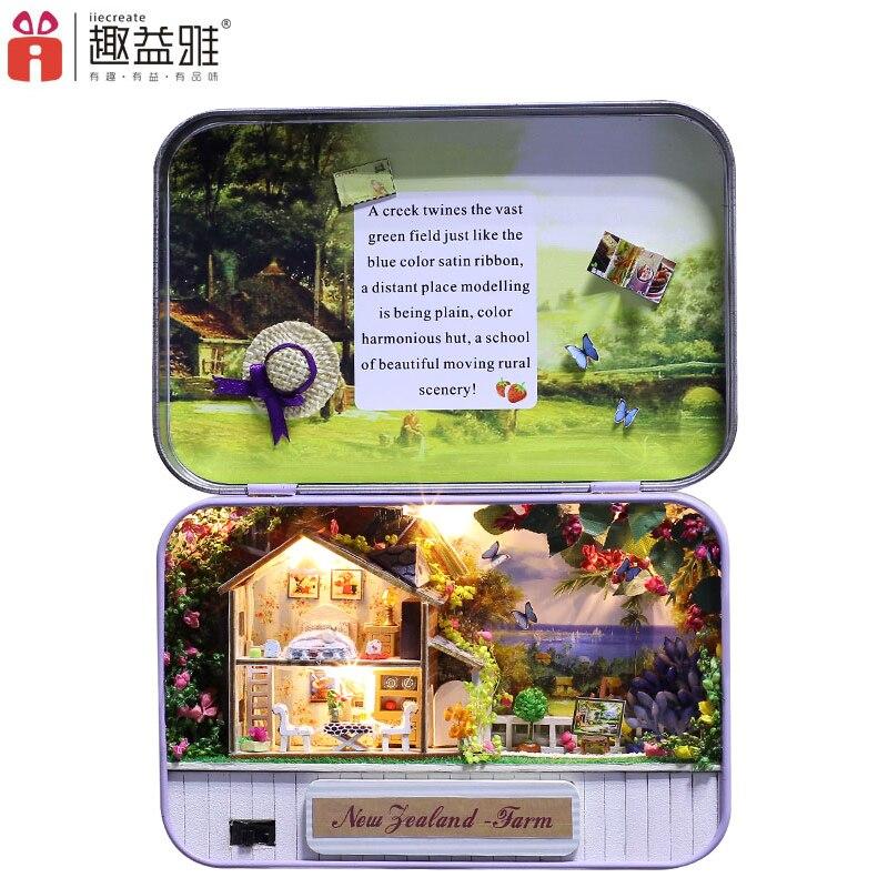 Puzzle de madera en miniatura para casa de muñecas DIY en 3D de iiE, Mini mueble de decoración para casa de muñecas, caja de regalo de Año Nuevo secreto