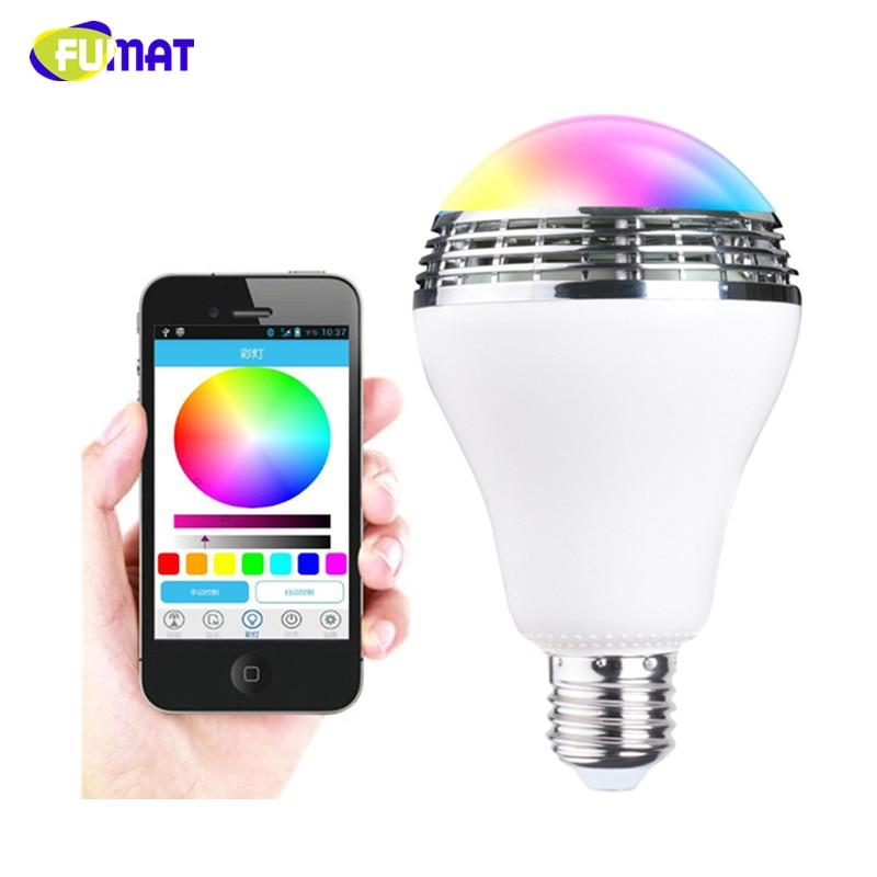 FUMAT Altavoz bluetooth E27 LED de luz de colores de la música bulbo de la lámpara a través de WiFi App Control reproductor de música Altavoz bluetooth inalámbrico