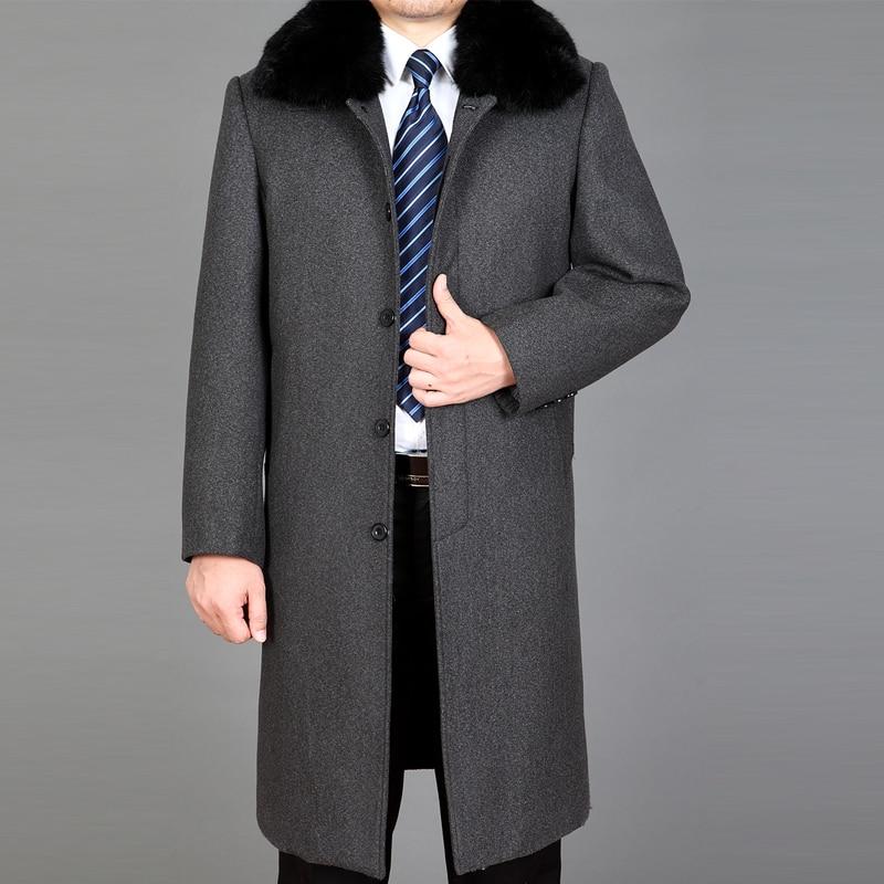 2021 New Men Wool Overcoat Winter Wool Long Coat Real Rabbit Fur Thick Warm Winter Coats Fashion Coat Blend Mens Peacoat M-4XL