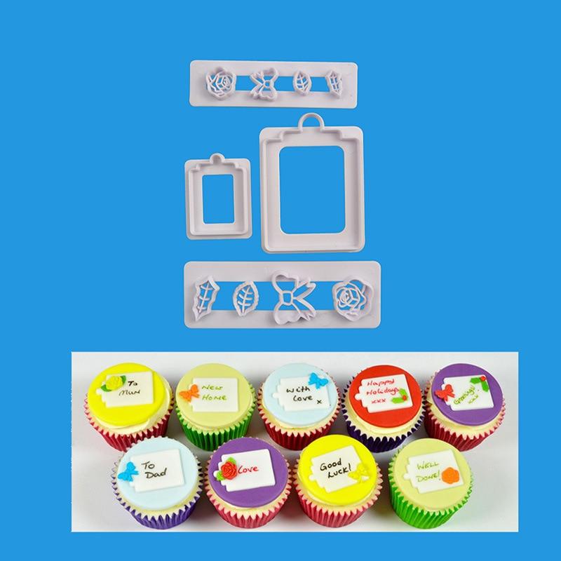 4pcs Gift Box Fondant Mold Cake Jelly Cookie Sugar Decoration Wedding Cake Decorating DIY Tools