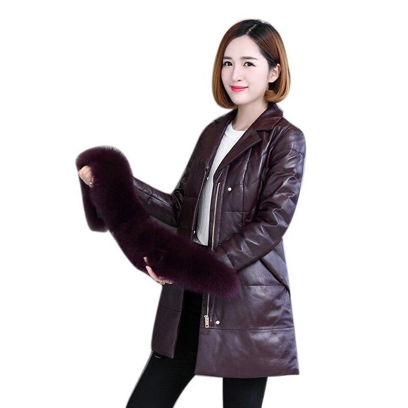 حقيقي جلد الغنم جلد الغزال معطف سترة الثعلب الفراء طوق الخريف الشتاء النساء الدافئة ملابس خارجية حجم كبير LF4260
