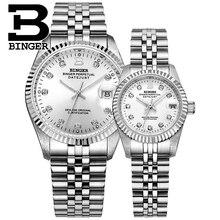Suíça binger relógio masculino mulher automática relógios mecânicos masculinos de luxo marca safira à prova dwaterproof água relógio de pulso BG-0373L
