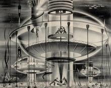 Future City Black & White Metropolis Sci-Fi Railways Vintage Art Decorative Poster Canvas Painting Wall Sticker Home Decor Gift