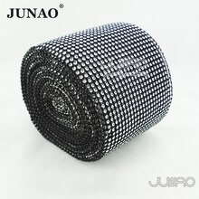 Junao 10 Yard Black Clear Rose Plastic Strass Stof Bekleding Naaien Diamond Mesh Strass Banding Kristal Applique Voor Diy Ambachten
