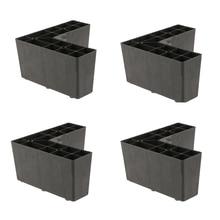 Paquete de 4 soportes universales de plástico para patas triangulares de muebles, patas de sofá y pies, soporte para sofá, cama negra