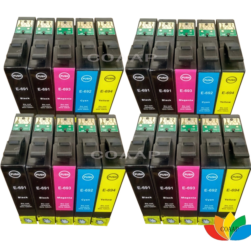 20 متوافق إبسون T0691-T0694 خرطوشة الحبر ل ستايلس CX7000F CX7450 CX8400 CX9400F CX9400Fax CX9475Fax C120 CX5000 CX6000
