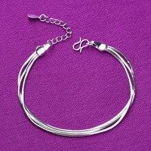 925 Sterling Zilver 3 Lagen Snake Chain Charm Armbanden Link Chain Verstelbare Armbanden Voor Vrouwen Partij Bruiloft Sieraden A168